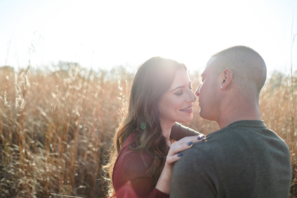 Bride with beautiful long dark hair leans in for a kiss with tall grass field behind them and the sun setting during golden hour in Rockford, Illinois.