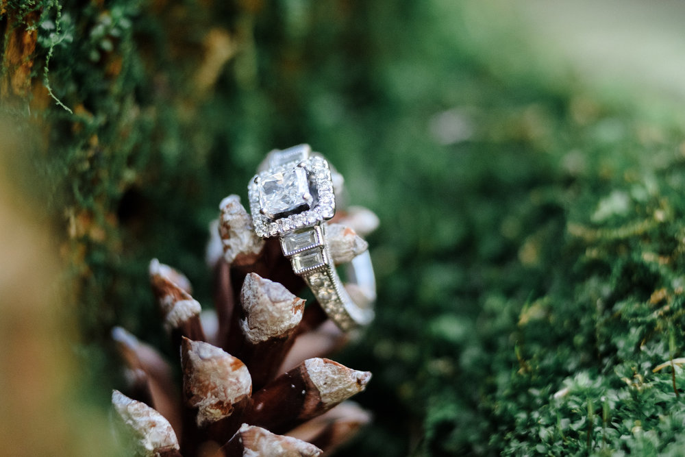 Brides engagement ring on a pine cone with fresh natural moss surrounding it.