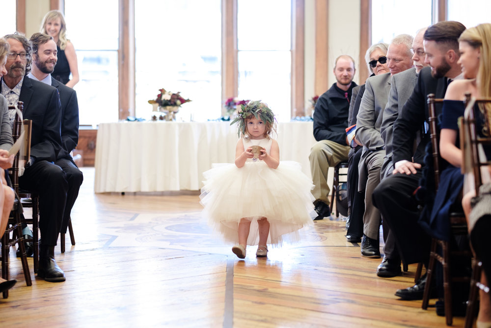Cute flower girl nervous to walk down aisle at pabst best place
