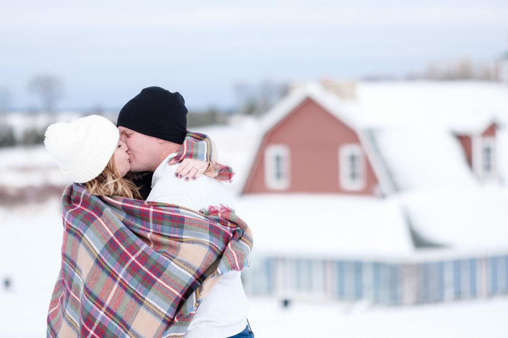 Pavilion at orchard ridge farms winter snow engagement session