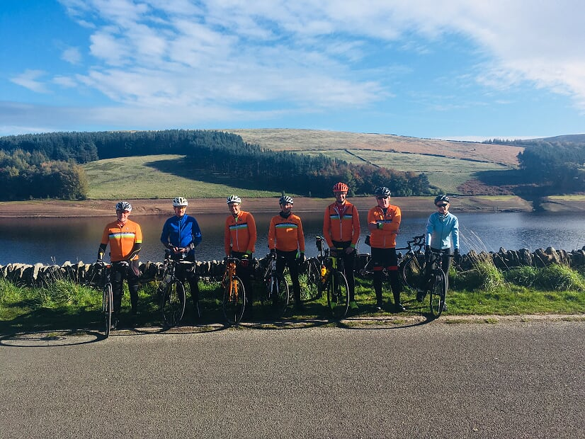 The Goyt Valley on the way home: John, Simon, Chris, Russell, Mark, Andrew, Janet.