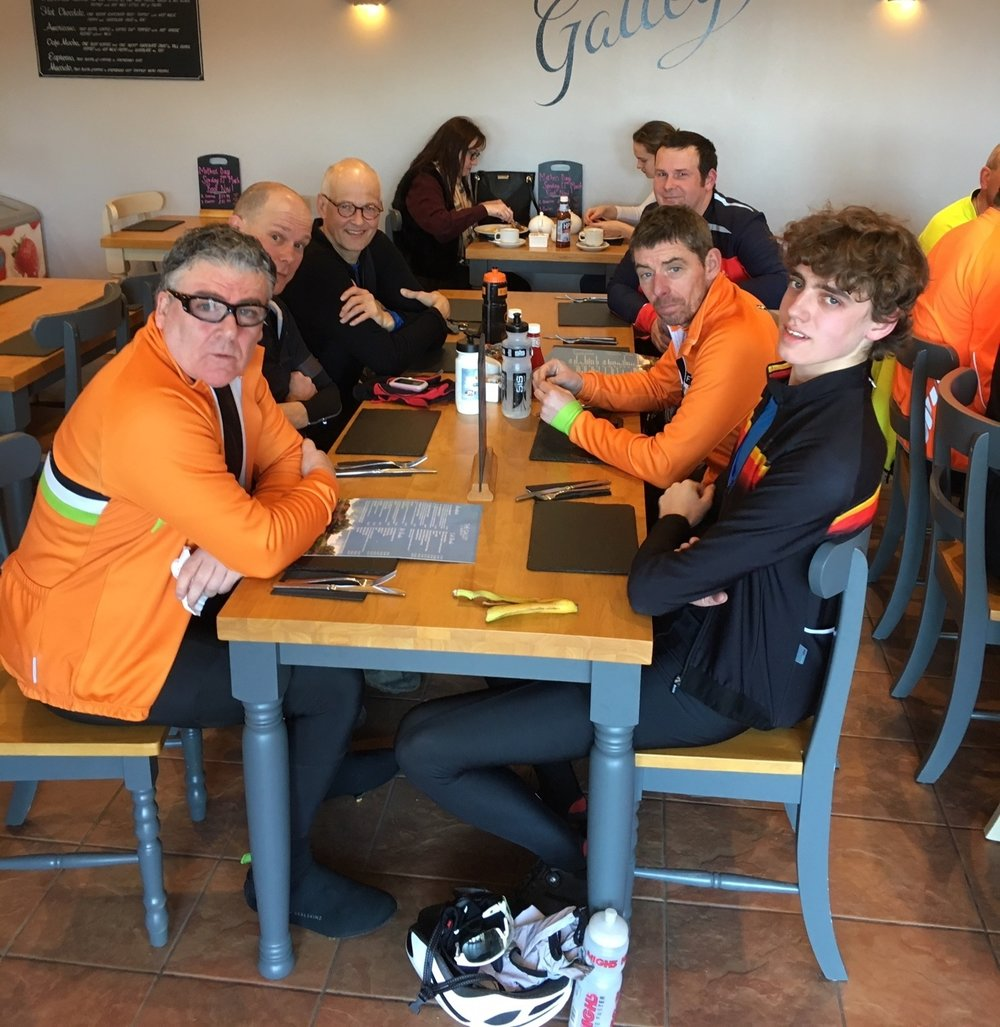 Thinking of coming out with us? This is what 33 miles into the wind looks like. Clockwise from bottom left: Andrew, Darren, Chris, Rob, Christian, Louis. Note: ride leader still smiling.