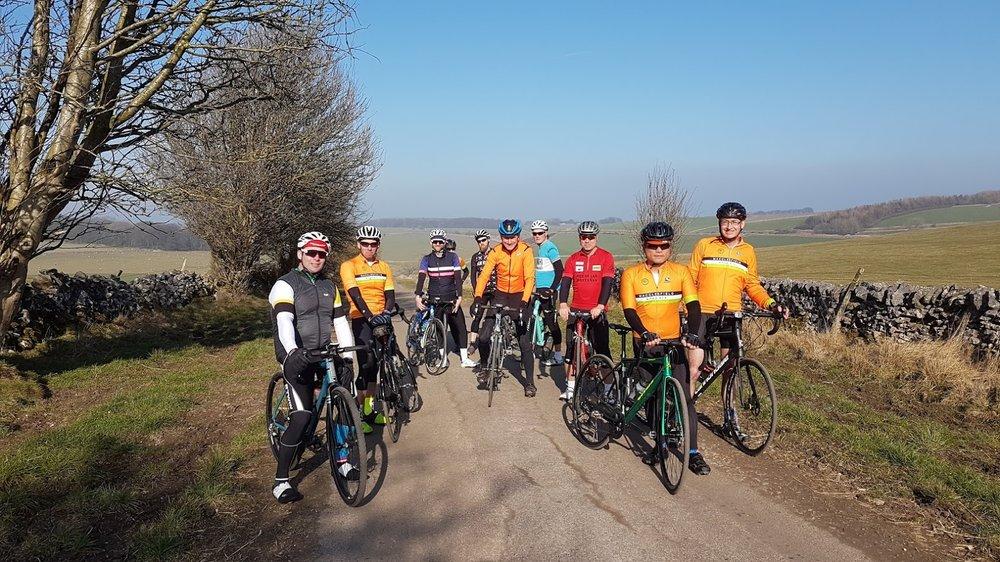 Simon, Christian, Elliot, Vikki, Paul, Dave, Steve, Matt, Mike, Steve at approx Mile 28.