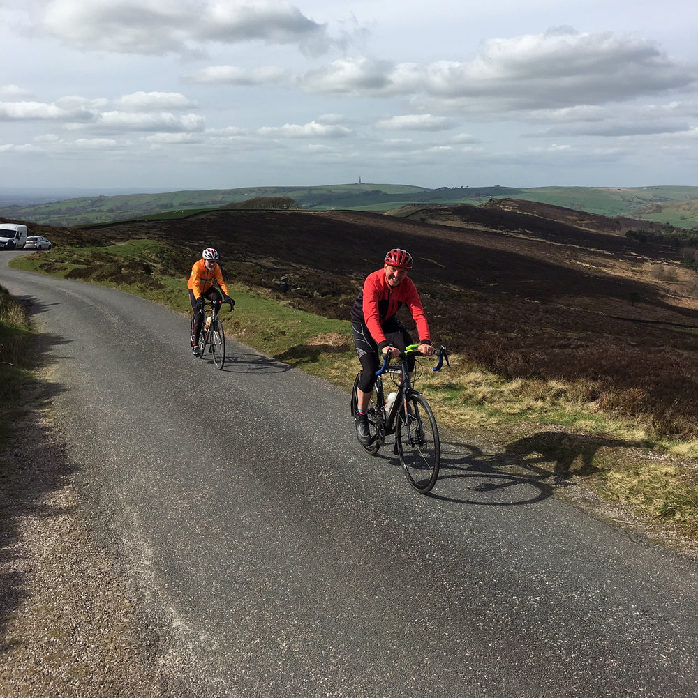 Phil leads Greg over the top of the Roaches.