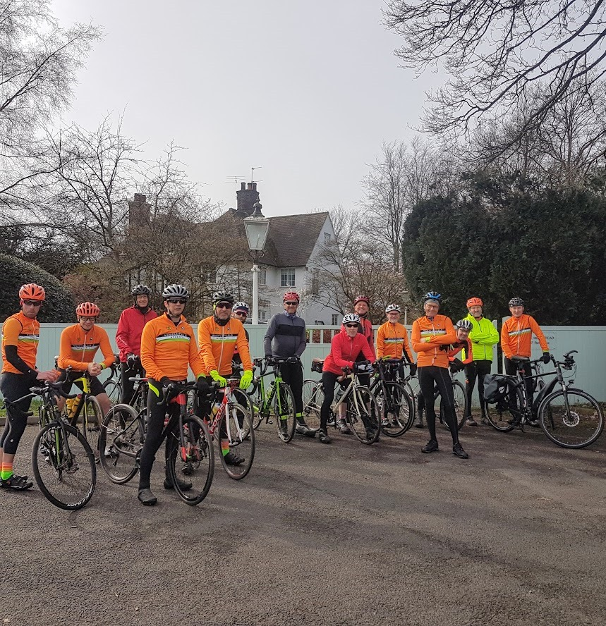 Larks and Larklings at Base Camp 10:00 hours. Christian. Mark, Steve, Russell, Pete, Elliot, new member Craig (welcome Craig, great ride), Kevin, Phil, Greg, Chris, Rob, Simon, Ian.
