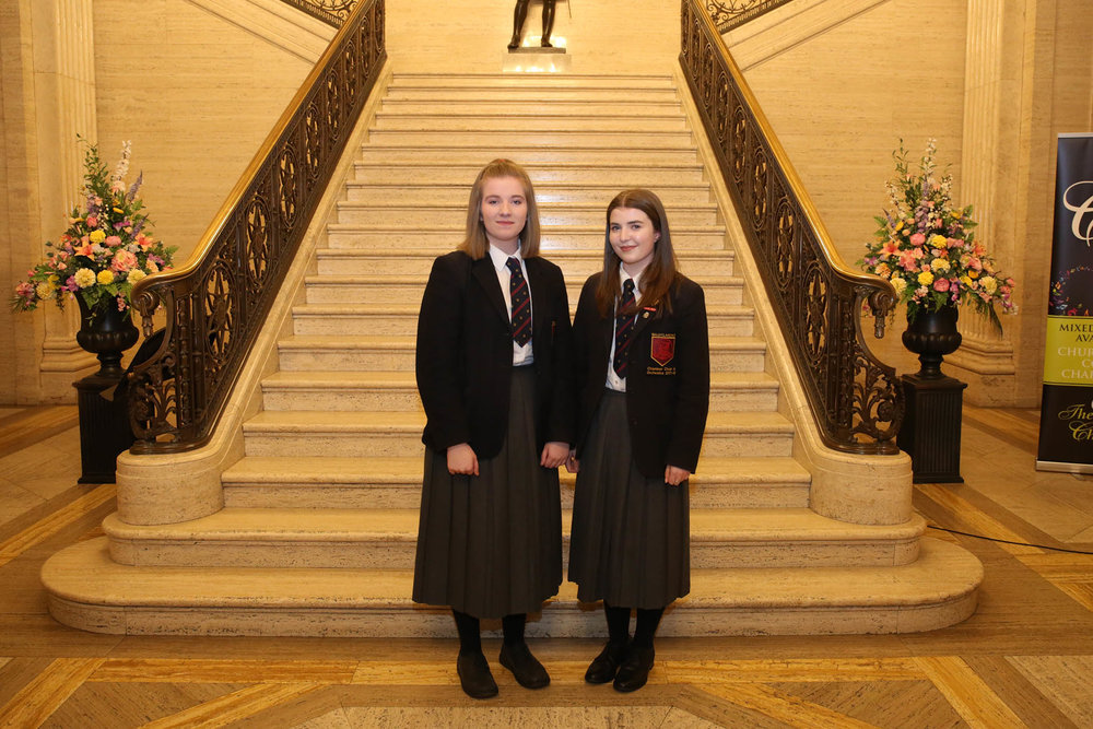 Ballyclare High School singers - Erin McWilliam and Katie Leckey
