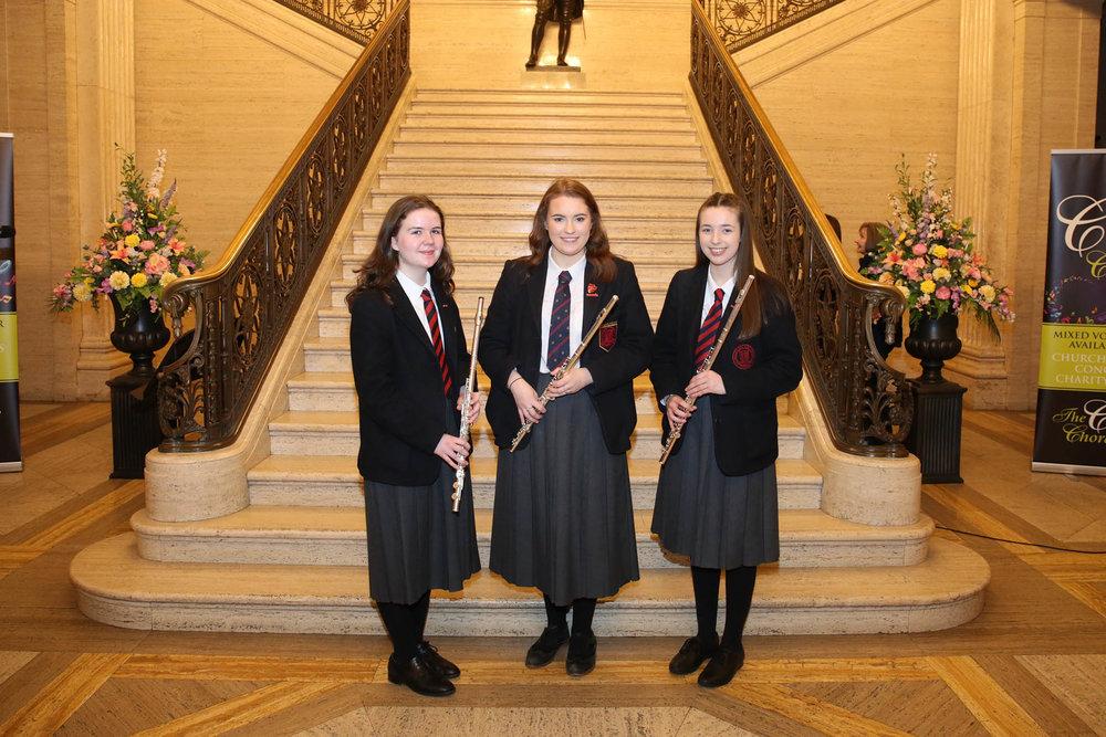 Ballyclare High School flautists, Abigail McQueen, Corran Crawford and Emma Blacoe