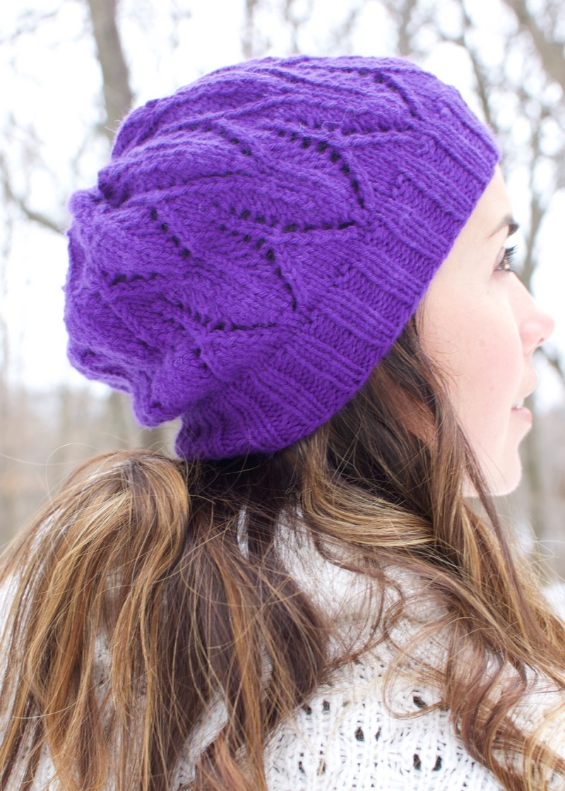 Cascade Slouch Hat - by Jeris SwanhorstThis slouch hat is a quick knit using our Embrace yarn. It pairs beautifully with our Cascade Cowl and is luxuriously warm and soft for a cold winter day or evening out.