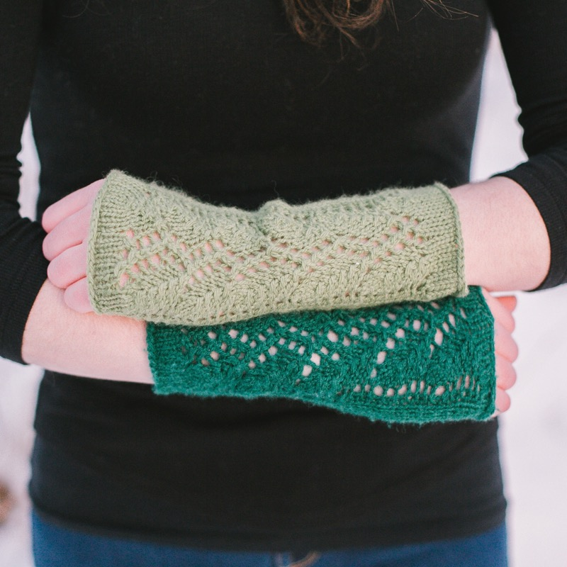 Vineyard Wrist Warmers - These fingerless gloves match our Vineyard Poncho. Three skeins of Harmony should be enough to finish both the poncho and gloves if you knit the poncho according to the pattern, without increasing the size.(Photo Credit: Karisa Joy Photography)