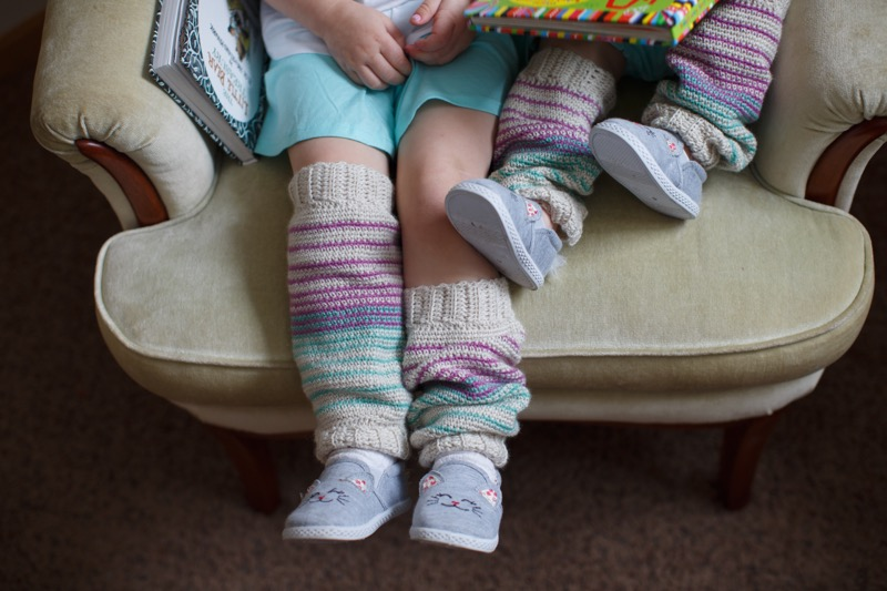 Mama & Me Leg Warmers - by Abbey SwansonMama and big sister or even aunties and friends will love having matching leg warmers with their little one.(Photo Credit: Open Air Journal)