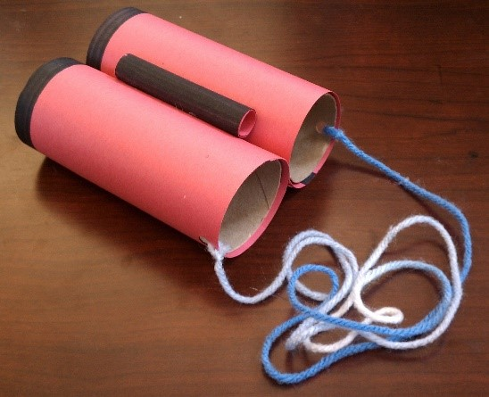 Paper towel tubes for pretend binoculars/telescopes and building in general
