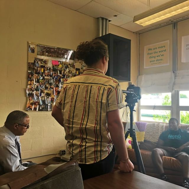 On set for the AMEND Club video. It will premiere at the AMEND Experience on September 13th - will you be there? #men #mentalhealth #mentor #mentoring #mentorship #ywca #ywcanashville #AMENDTogether #challenge #cultivate #change