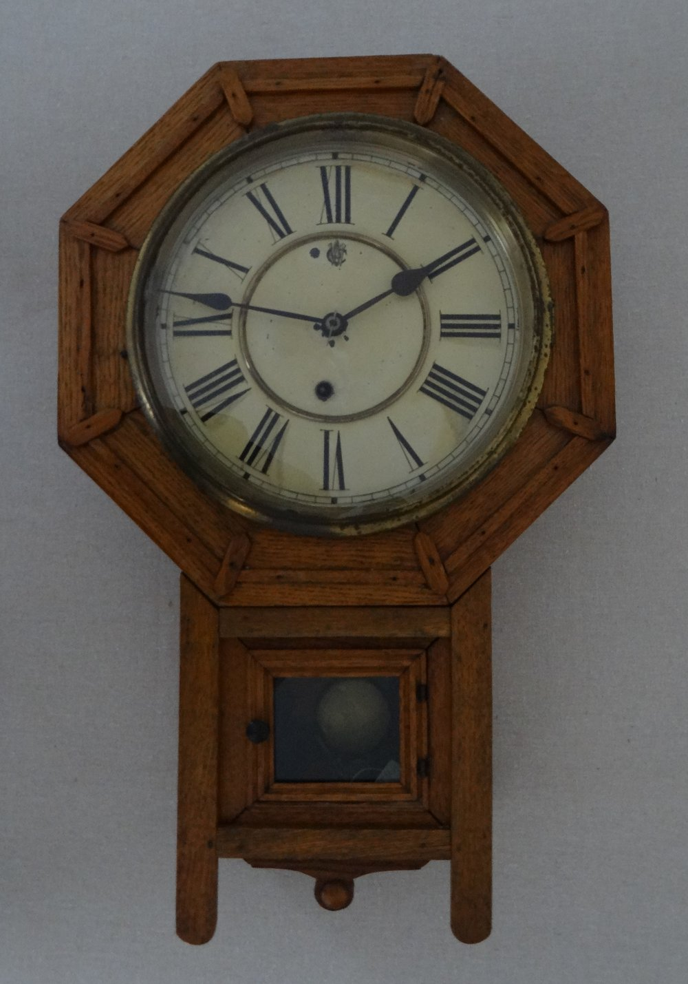 Clowers Family Clock, Waterbury Clock Co., Waterbury, CT. c1890.Brought to Richwood when the family migrated north from Dames Crossing, GA, in the 1940s. [HTHS: Reuter-Bilewicz Collection]