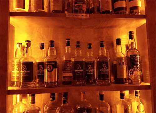 Copper & Oak whiskey wall