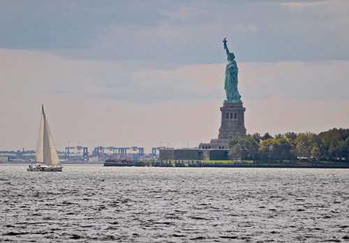view of statue of liberty from batter park