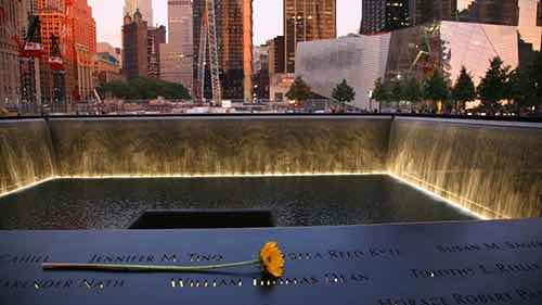 national september 11 memorial flower at memorial