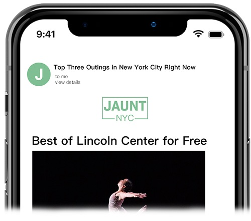 jaunt nyc subscriber email preview