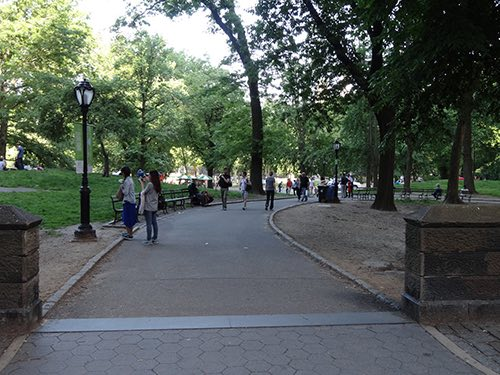 entrance to central park from the upper west side manhattan new york city ny