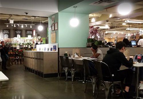 seating area at whole foods at columbus circle manhattan new york city ny