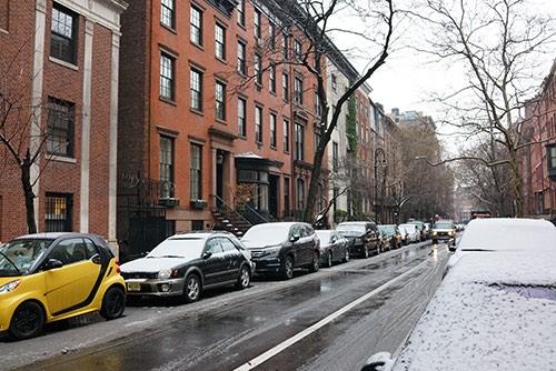 snowy street in greenwich village in manhattan new york city ny