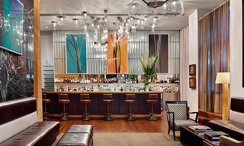 view of bar at core club in midtown manhattan new york city, ny