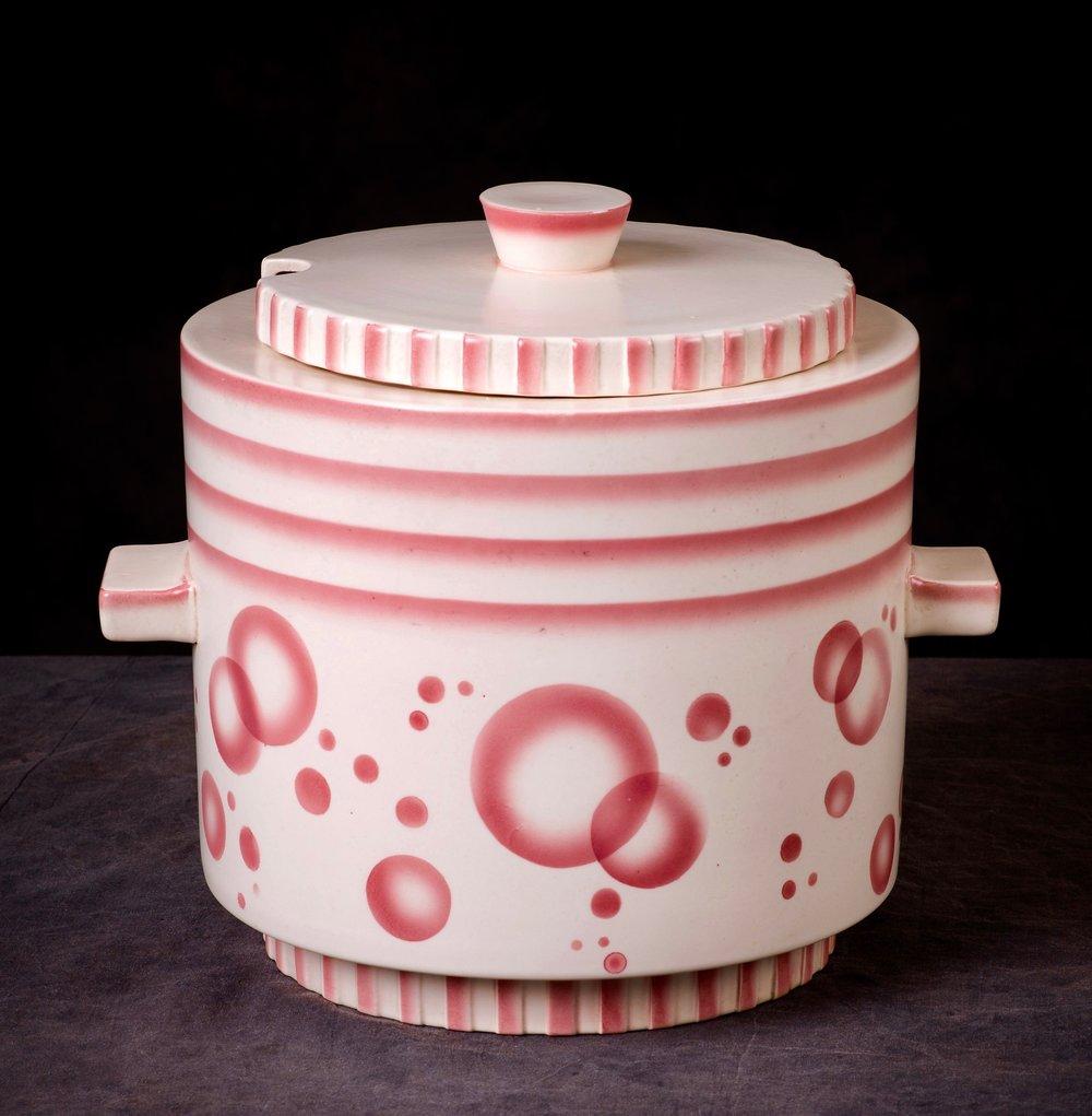 #14 Punch bowl, form 3734, dec.6264, Villeroy & Boch, Mettlach, ca.1930. Green mfr. Mettlach, Made in Saar-Basin 6264; Blind 3734 CV 21; 20.5 cm H without lid, 17.7 cm opening, 18.7 cm base Ø. RM1000