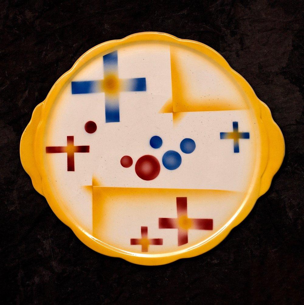 #36 Platter, form 15, dec.4748, Colditz, ca.1930. Black 4748; Blind 15; .5 cm H, 30.3 cm top, 25.5 cm outer base Ø. RM1441