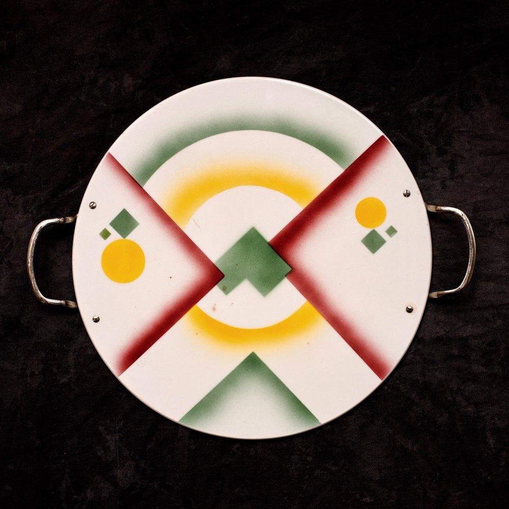 #44 Platter, dec. 6126, Grünstadt, ca.1930. Green mfr., X6126m; Blind 30 12 32 B; .5 cm H, 30 cm Ø. RM41