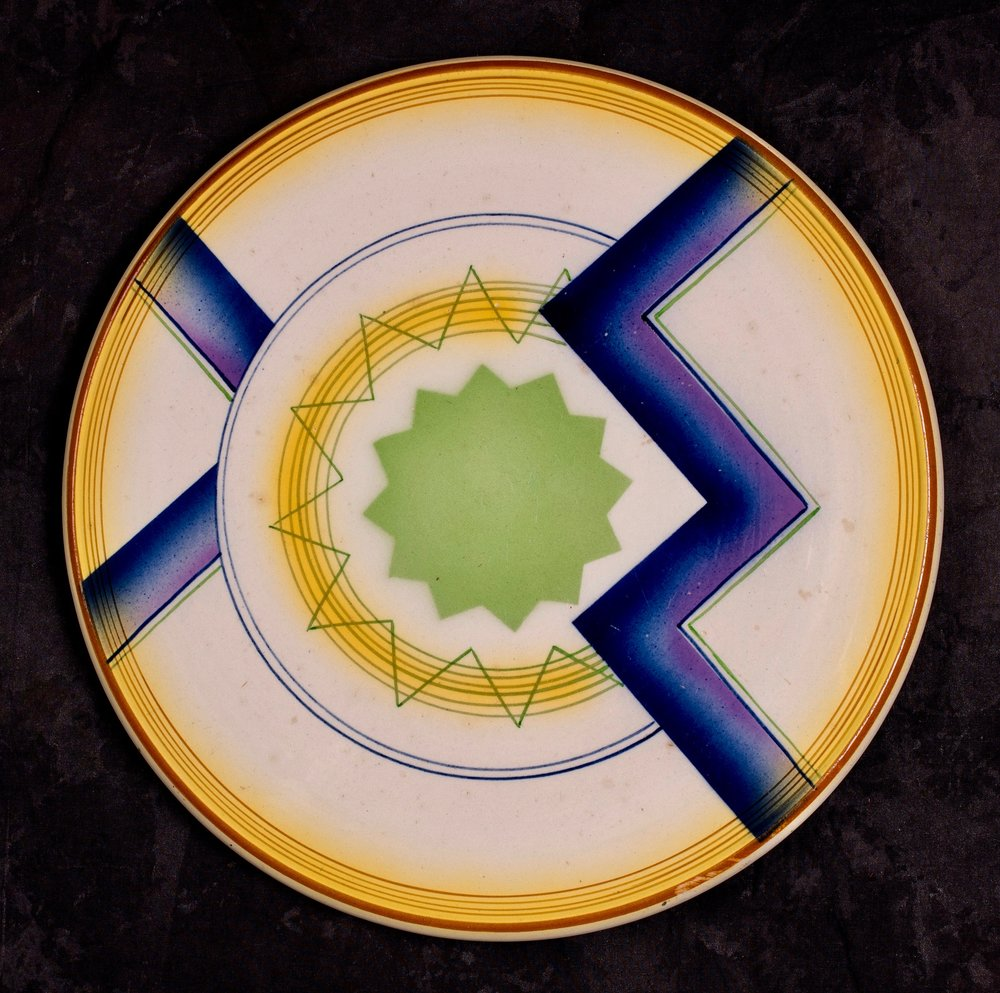#49 Platter, form 100, dec.1824, Grünstadt, ca. 1930. Blue mfr., 1824/2; Blind 100 [0]; 1.7cm H, 29.9 cm top, 22 cm base Ø.  RM2198