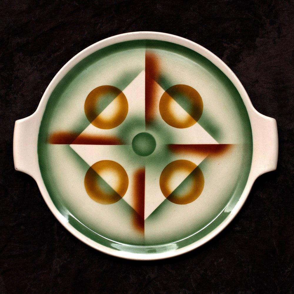 #35 Platter, form 1388, dec.6056, Grünstadt, ca.1930. Green mfr., 06056E; Blind 1388 32 11; 1.8 cm H, 32.2 cm top, 27.6 cm base Ø. RM300