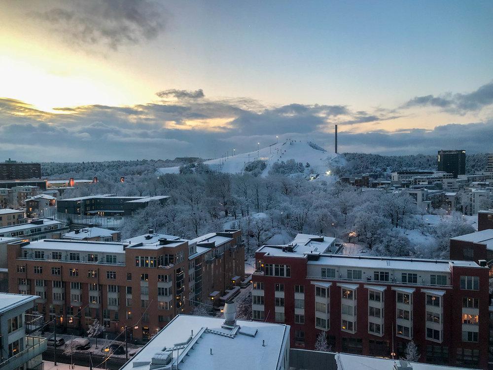 Vaknade första morgonen till super-vinterland. Fint faktiskt.