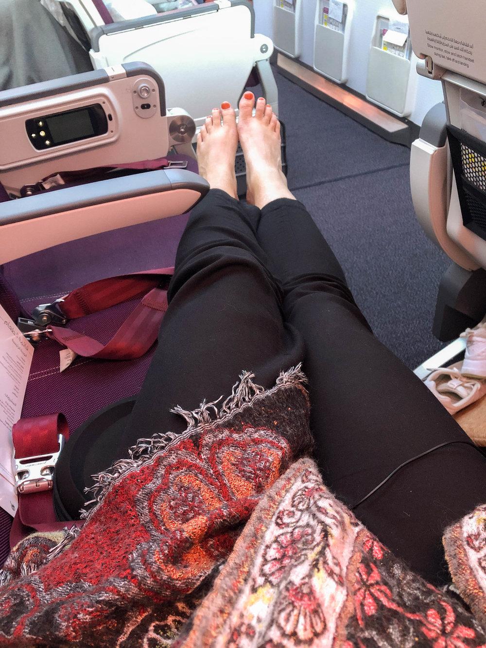 Klädde mig enligt Bali vid fötterna och Sverige runt halsen. Höll på att förfrysa när vi landade.