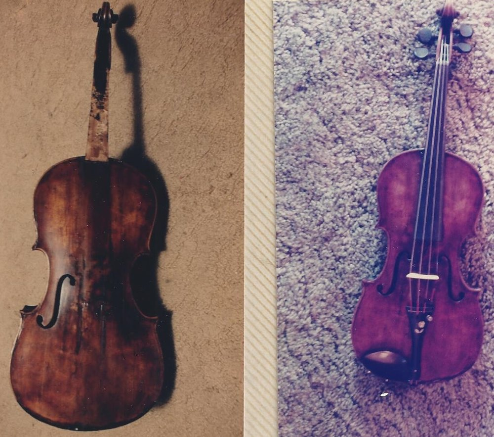 Run over violin after restoration.