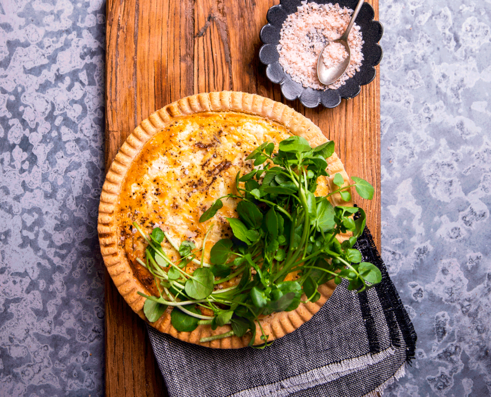 Caramelised Leek and Goat Feta Quiche