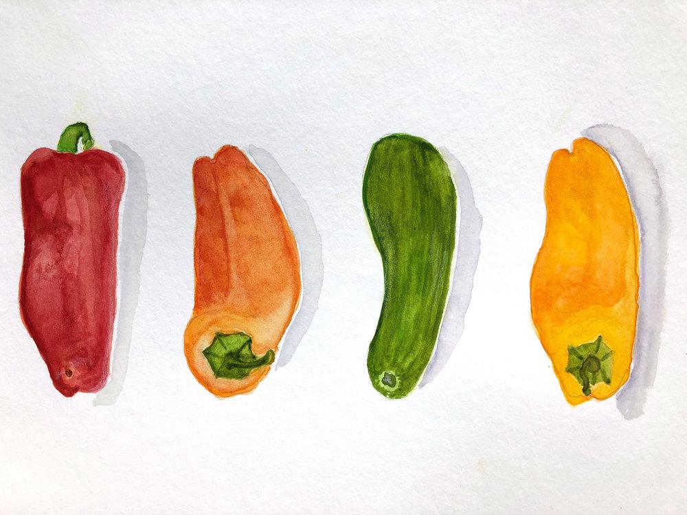 Mini cukes and caps – watercolour