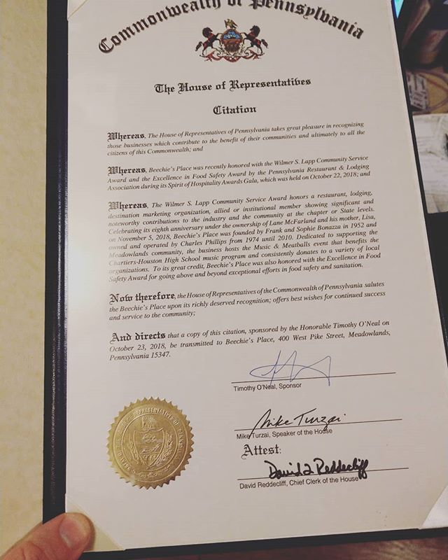 Awesome House of Representatives commendation for our most recent award! Thank you Rep. Tim O'Neal! #community #givewhenyoucan #local #communityofgiving #restaurant #family #volunteer #donate #change #charity #dogood #philanthropy #socialgood #beechies