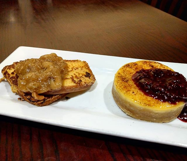 #valentines #weekend #dessert for two! #frenchtoast #poundcake with #bananas  foster and #cremebrulee with a #sugar #cookies crust with #berry #compote #nomnom #yummy #yumyum #getinmybelly #eatfresh #eatlocal #homemade #freshisbest #fresh #nomnomnom #beechies #instayum #instagood #instafood #food