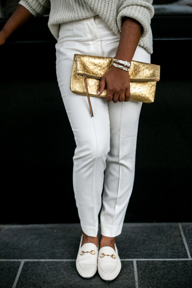 Sweater; Target // Pants; Burberry // Shoes;  Gucci  // Clutch; Banana Republic - similar  here  // Bracelet;  iamPurty  // Earrings; H&M