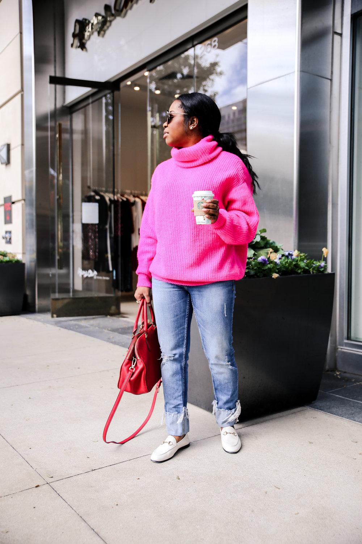 Shades; Francesca's // Sweater; Zara -  here  in neon orange // Denim; Zara - old // Handbag; Tory Burch - old // Shoes; Gucci -  here