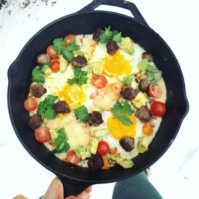 One Pan Vegetable, Egg & Sausage Bake
