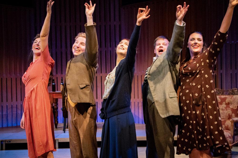 "Sara, Dieter, Hannah, Hans and Magda during the ""Nightclub Scene"""