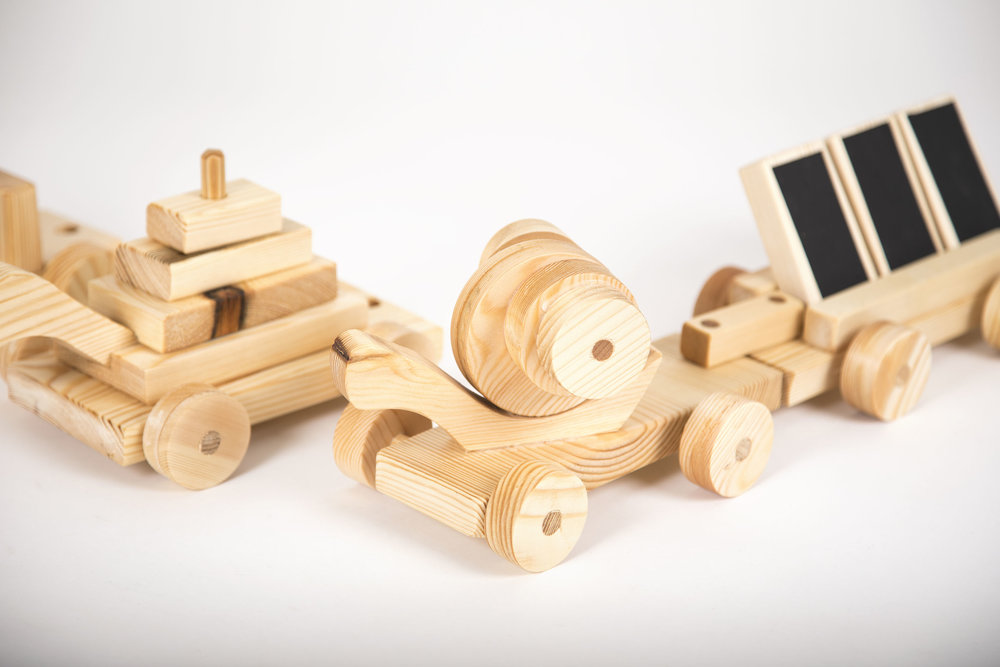 wooden toys with blackboards