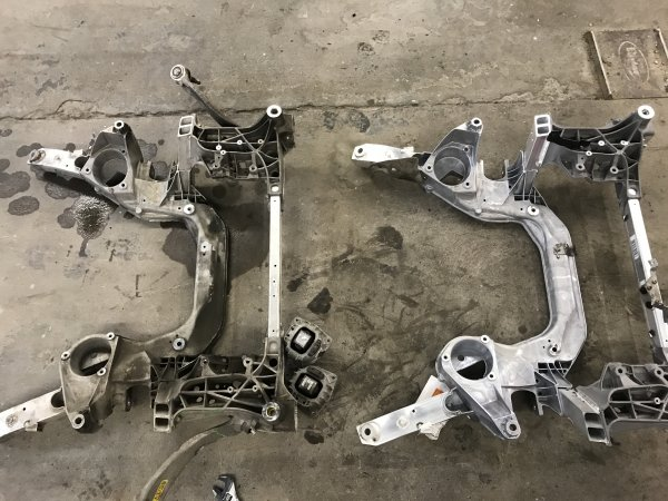 Well we have the entire engine/suspension cradle or sub-frame out of the BMW and are comparing the new and old part to confirm it is correct. Even though you may order a part by part number, there is still a possibility the part was picked or packaged wrong. This is a very tedious task that take up a lot of time, especially on a repair with 60+ parts.