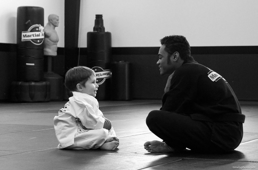 Karate student and instructor