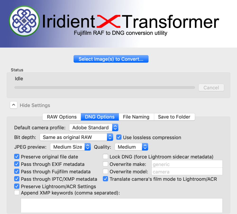 Iridient Transformer settings - screen 2
