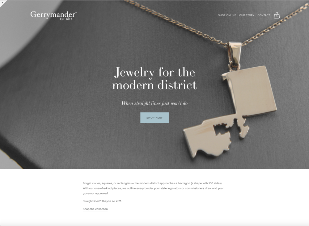 Screenshot of GerrymanderJewelry.com. Homepage copy written by Laura Max Rose, LLC in tandem with the team at Gerrymander Jewelry.