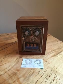 Wormy Fiddleback Myrtlewood - Corbin Double Dial Post Office Door Safe/Bank