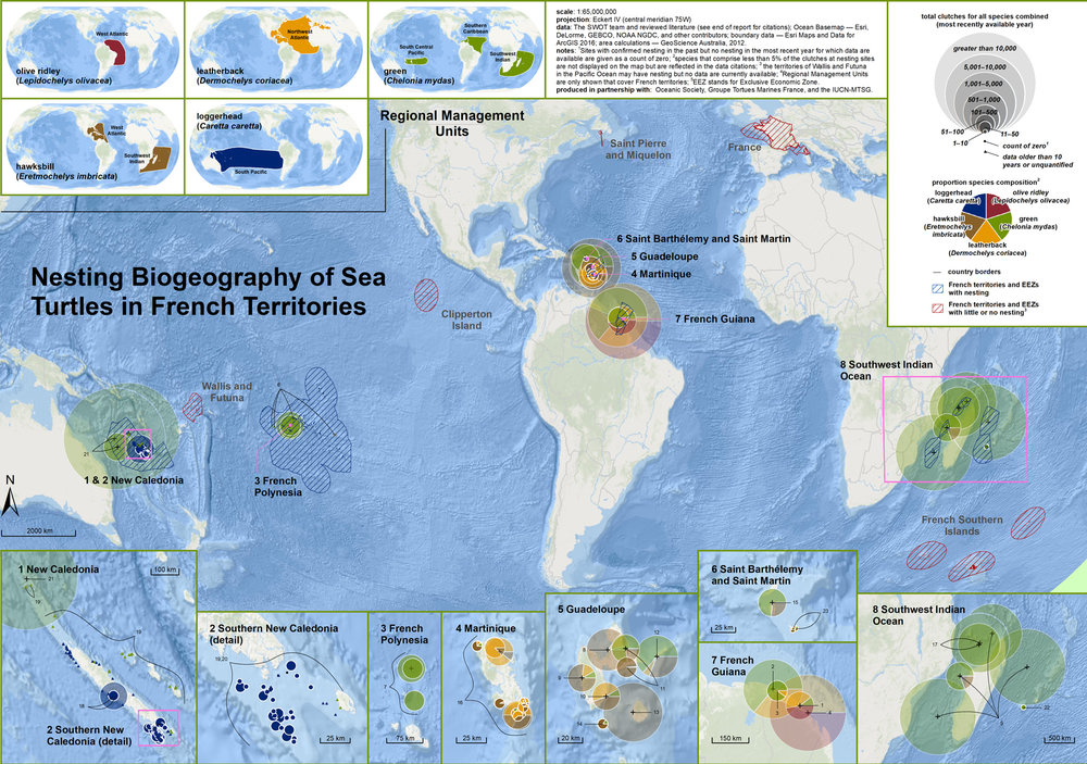 Nesting Biogeography of Sea Turtles in French Territories ( data citations ) |   SWOT Report   , vol. XIII (2018) .