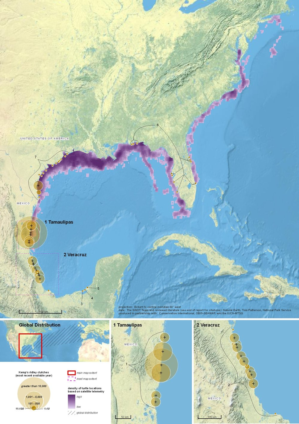 Global Biogeography of the Kemp's Ridley ( data citations ) |   SWOT Report , vol. V (2010) .