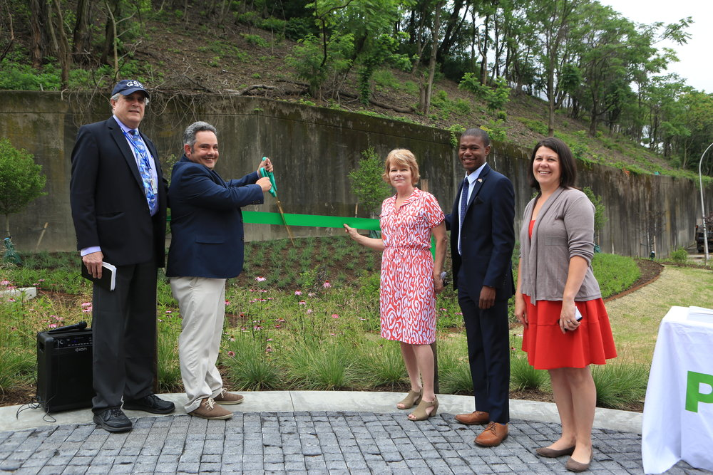 Ribbon cutting for the stormwater project at Centre and Herron in the Hill District
